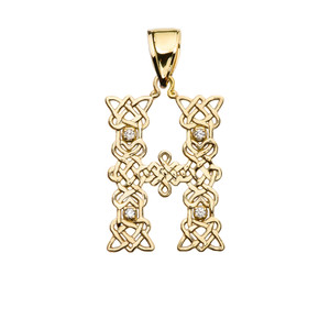 """H"" Initial In Celtic Knot Pattern Yellow Gold Pendant Necklace With Diamond"