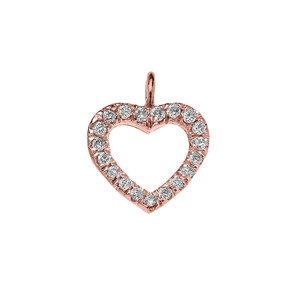 14K Reversible Diamond and High Polish Plain Open Heart Rose Gold Charm Dainty Pendant Necklace