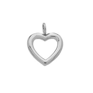 14K Reversible Diamond and High Polish Plain Open Heart White Gold Charm Dainty Pendant Necklace