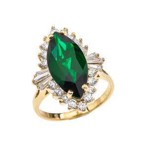 4 Ct CZ Emerald May Birthstone Ballerina Yellow Gold Proposal Ring