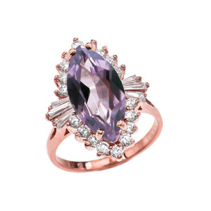 4 Ct CZ Alexandrite June Birthstone Ballerina Rose Gold Proposal Ring
