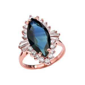 4 Ct CZ Sapphire September Birthstone Ballerina Rose Gold Proposal Ring