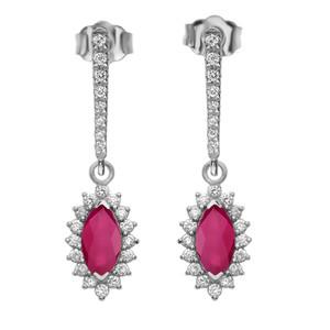 Diamond And Ruby White Gold Elegant Earrings