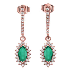 Diamond And May Birthstone LC Emerald Rose Gold Elegant Earrings