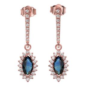 Diamond And Sapphire Rose Gold Elegant Earrings