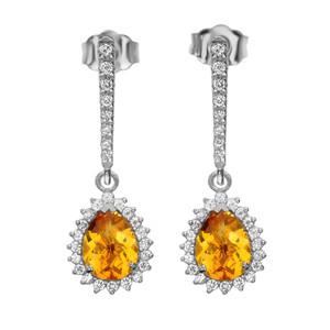 Diamond And Checkerboard Citrine White Gold Elegant Earrings