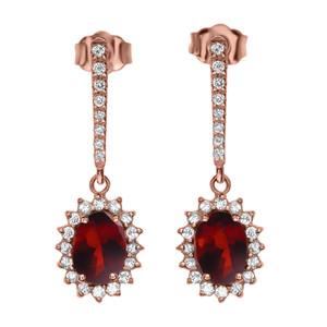 Diamond And Garnet Rose Gold Elegant Earrings