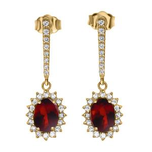 Diamond And Garnet Yellow Gold Elegant Earrings