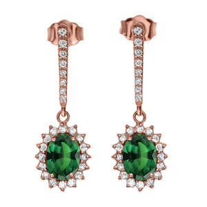 Diamond And May Birthstone (LCE) Emerald Rose Gold Elegant Earrings