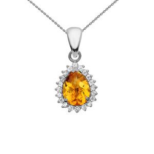 Diamond And Checkerboard Citrine White Gold Elegant Pendant Necklace