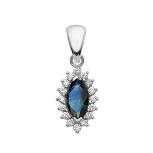 Diamond And Sapphire White Gold Elegant Pendant Necklace