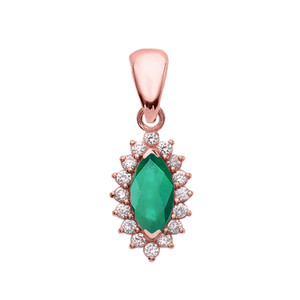Diamond And Emerald Rose Gold Elegant Pendant Necklace