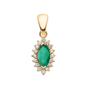 Diamond And Emerald Yellow Gold Elegant Pendant Necklace