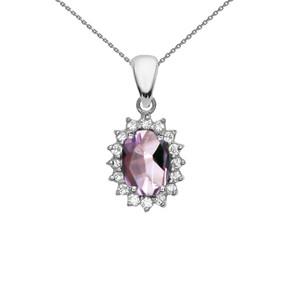 Diamond And June Birthstone CZ Alexandrite White Gold Elegant Pendant Necklace