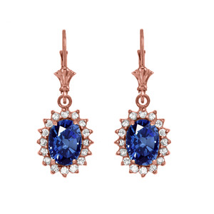 Diamond And September Birthstone Sapphire Rose Gold Dangling Earrings