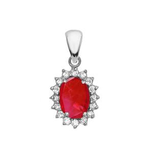 Diamond And July Birthstone Ruby White Gold Elegant Pendant Necklace