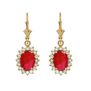 Diamond And July Birthstone Ruby Yellow Gold Dangling Earrings