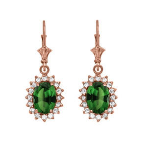 Diamond And May Birthstone (LCE) Emerald Rose Gold Dangling Earrings