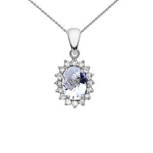 Diamond And March Birthstone Aquamarine White Gold Elegant Pendant Necklace