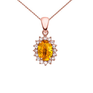 Diamond And Citrine Rose Gold Elegant Pendant Necklace