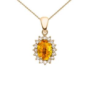 Diamond And Citrine Yellow Gold Elegant Pendant Necklace