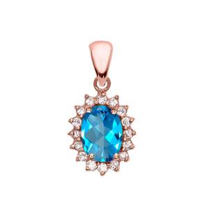 Diamond And Blue Topaz Rose Gold Elegant Pendant Necklace