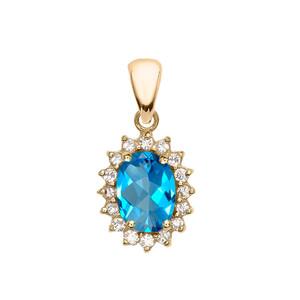 Diamond And Blue Topaz Yellow Gold Elegant Pendant Necklace