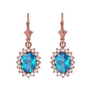 Diamond And Blue Topaz Rose Gold Dangling Earrings