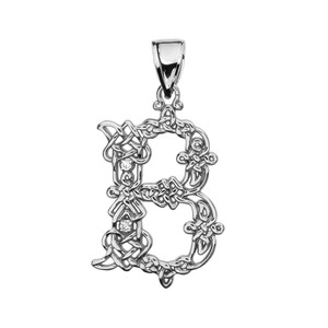 """""""B"""" Initial In Celtic Knot Pattern Sterling Silver Pendant Necklace With CZ"""