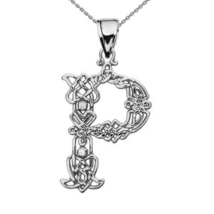 """P"" Initial In Celtic Knot Pattern Sterling Silver Pendant Necklace With CZ"