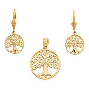 14K Yellow Gold Polished Tree of Life Openwork Necklace Earring Set