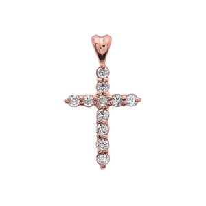 0.5 Carat Diamond Cross Elegant Rose Gold Pendant Necklace