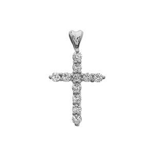 Diamond Cross White Gold Pendant Necklace