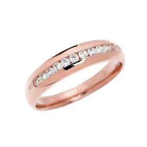 Diamond Channel-Set Rose Gold Men's Wedding Ring