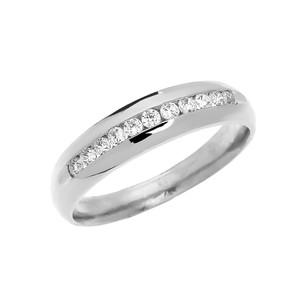 Diamond Channel-Set White Gold Men's Wedding Ring