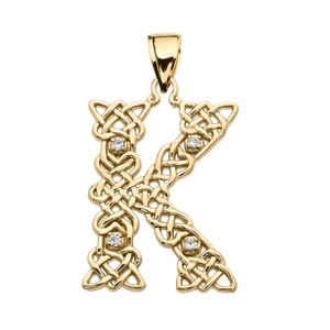 """""""K"""" Initial In Celtic Knot Pattern Yellow Gold Pendant Necklace With Diamond"""