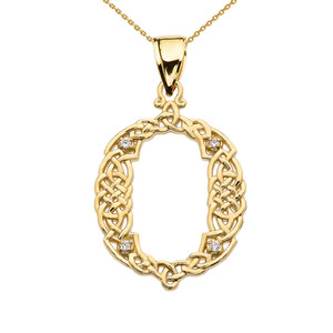 """O"" Initial In Celtic Knot Pattern Yellow Gold Pendant Necklace With Diamond"