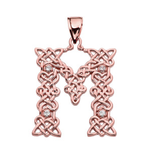 """""""M"""" Initial In Celtic Knot Pattern Rose Gold Pendant Necklace With Diamond"""