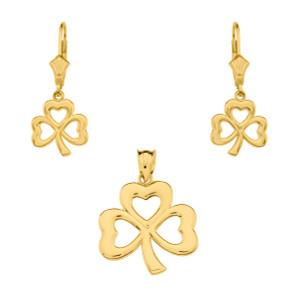 14K Yellow Gold Polished Lucky Shamrock Necklace Earring Set