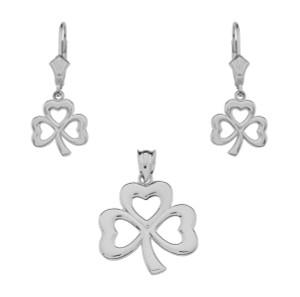 14K White Gold Polished Lucky Shamrock Necklace Earring Set