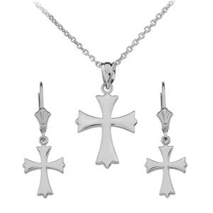 14K White Gold Roman Catholic Necklace Earring Set