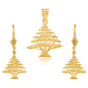 14K Yellow Gold Lebanese Cedar Tree  Necklace Earring Set