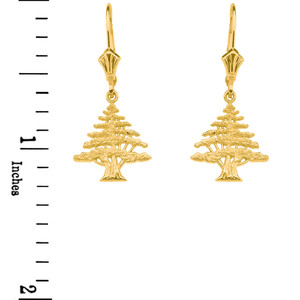 Yellow Gold Lebanese Cedar Tree Earrings