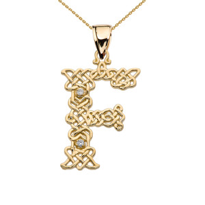 """F"" Initial In Celtic Knot Pattern Yellow Gold Pendant Necklace With Diamond"