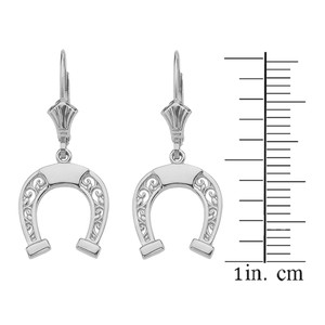 14K  White Gold Filigree Horseshoe Earrings
