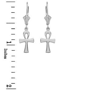 14K White Gold Egyptian Ankh Polished Earrings