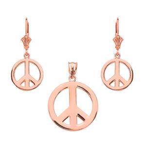 14K  Rose Gold Boho Peace Sign Necklace Earring Set