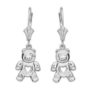 14K White Gold Love Bear Earrings