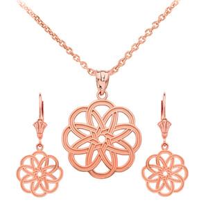 14K Rose Gold Celtic Knot Round Flower Necklace Earring Set