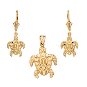 14K Yellow Gold Tribal Hawaiian Turtle Necklace Earring Set